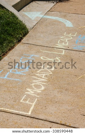 Chalk writing on sidewalk that says Fresh Lemonade and Limeaid with arrow pointing to the direction of the lemonade stand. Bright sunshine on the sidewalk.