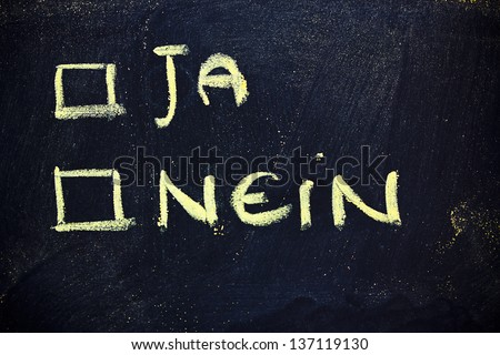 chalk writings on blackboard, choice between yes or no - stock photo