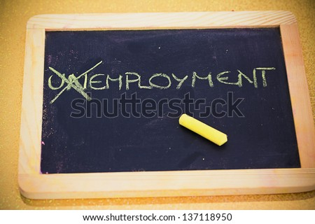 chalk writings on blackboard: looking for an employment - stock photo