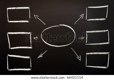 chalkboard and boxes with copyspace for text - stock photo