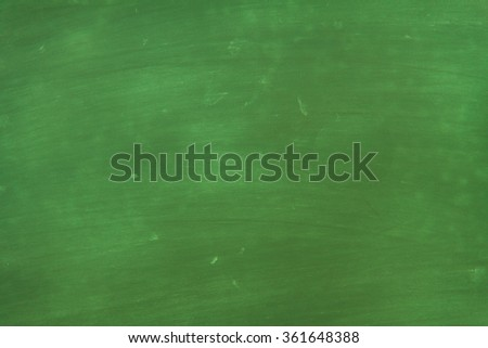 Chalkboard / blackboard green. Empty blank with copy space for chalk text. Used feel with chalk traces and great texture. From Photo. - stock photo