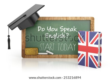 Chalkboard, English learning concept with grammar book. 3d illustration isolated - stock photo