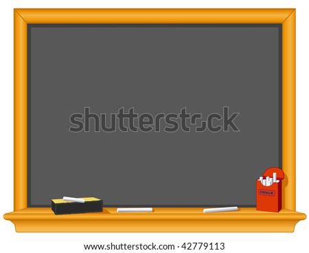 Chalkboard, Eraser, Chalk Box. Copy space to add your own text or drawings to this old fashioned wood and slate blackboard for education, literacy, back to school projects.