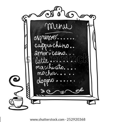Chalkboard. Hand drawn. Coffee shop menu.  - stock photo