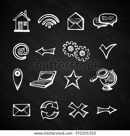 Chalkboard internet icons set with computer arrow mail home symbols isolated  illustration - stock photo
