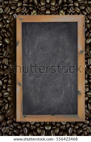 Chalkboard on a coffee beans background