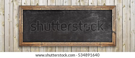 Chalkboard on the wood wall