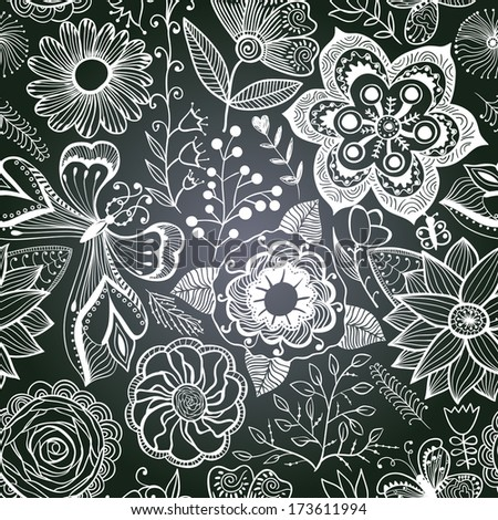 chalkboard seamless floral pattern. Copy that square to the side,you'll get seamlessly tiling pattern which gives the resulting image the ability to be repeated or tiled without visible seams.