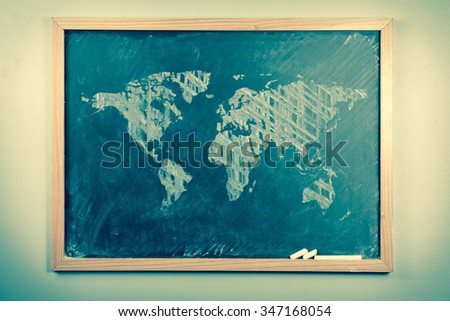 Chalkboard sketch drawing map of the world for education concept - stock photo