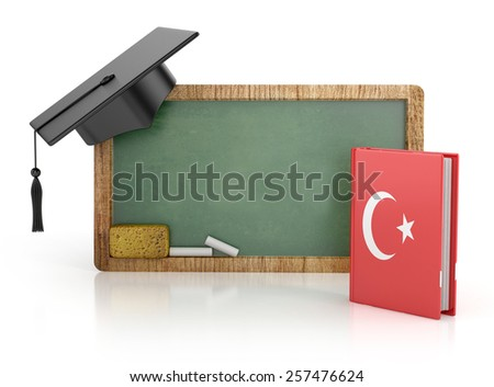 Chalkboard, Turkish learning concept with grammar book. 3d illustration isolated - stock photo