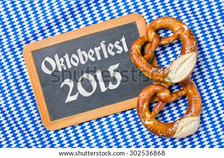 Chalkboard with a bavarian decor - Oktoberfest 2015 - stock photo