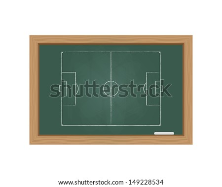 Chalkboard with a football field. Vector available.