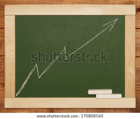 chalkboard with business chart - stock photo