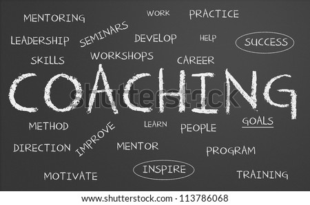 Chalkboard with coaching concept - stock photo