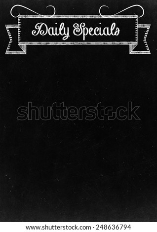 "Chalkboard with ""Daily Specials"" Hand Drawn in Chalk with copy space for your Text - stock photo"