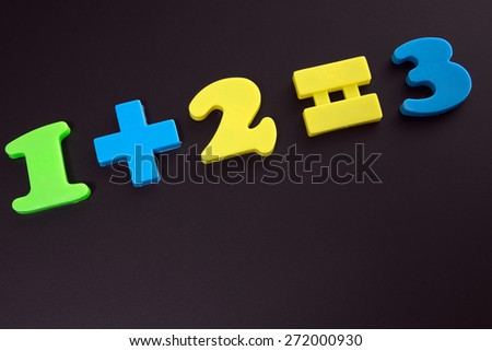 Chalkboard with one plus two equals three / mathematics - stock photo