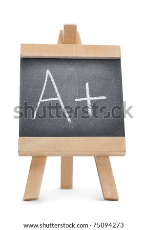 Chalkboard with the letter a and the symbol + written on it isolated against a white background - stock photo