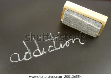 Chalkboard with the word ADDICTION written with an eraser - stock photo
