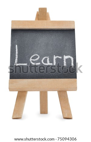 Chalkboard with the word learn written on it isolated against a white background - stock photo