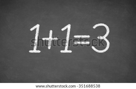 chalkboard with the words of one plus one equals three. closeup - stock photo