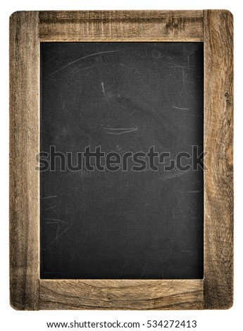 chalkboard with wooden frame vintage blackboard isolated on white background