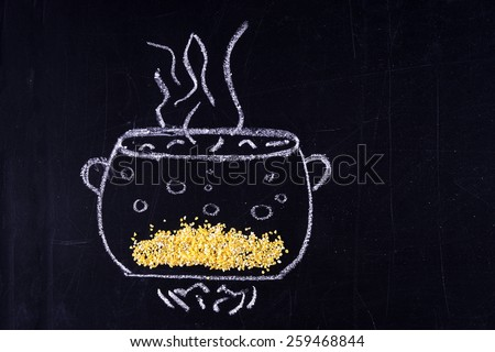 Chalked pan. Cook porridge - stock photo