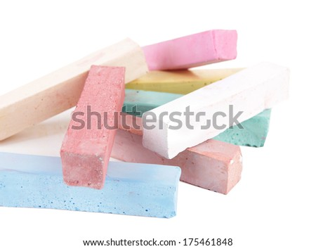 Chalks in variety of colors, isolated on white - stock photo