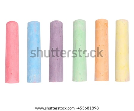 chalks in variety of colors isolated on white background, with clipping path