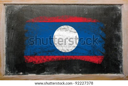 Chalky laos flag painted with color chalk on old blackboard - stock photo