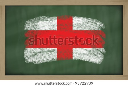 Chalky national flag of england painted with color chalk on blackboard illustration