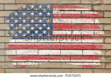 Chalky united states of america flag painted with color chalk on grunge old brick wall - stock photo