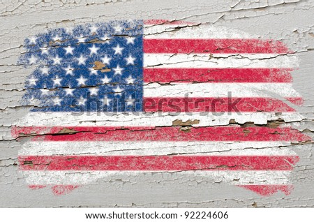 Chalky united states of america flag painted with color chalk on grunge wooden texture - stock photo