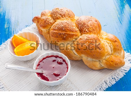 challah. breakfast table - stock photo