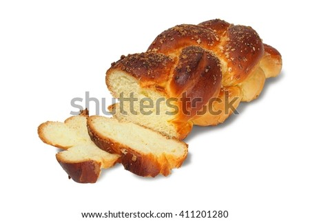 Challah isolated on white background