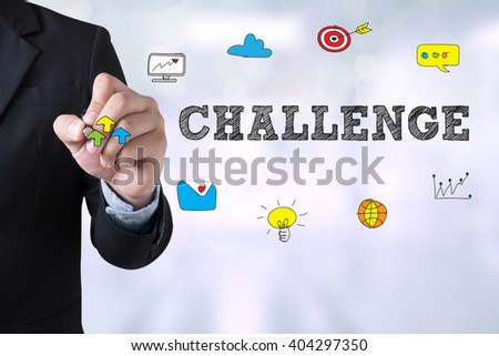 CHALLENGE Businessman drawing Landing Page on blurred abstract background - stock photo