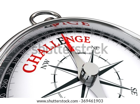 Challenge motivation red word on concept compass, isolated on white background