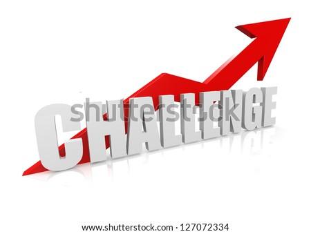 Challenge with upward red arrow - stock photo