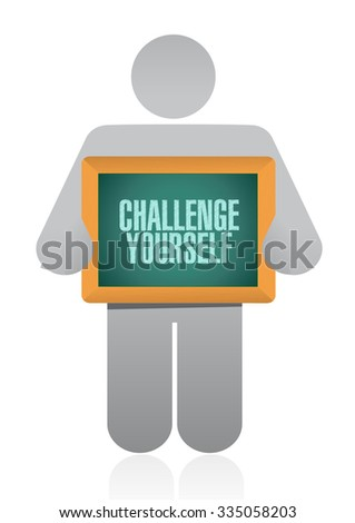 Challenge Yourself board sign concept illustration design graphic