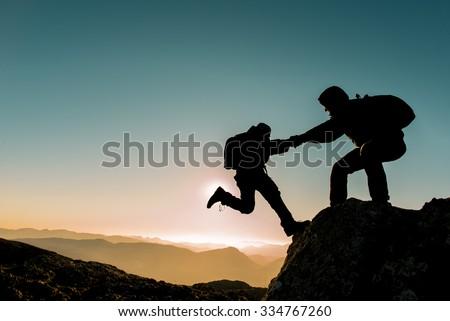 challenging climbing peak - stock photo