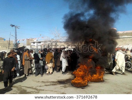 CHAMAN, PAKISTAN - FEB 03: Members of Civil Society are protesting against high  handedness of police department, during demonstration held at Taj Road on February 03, 2016 in Chaman.