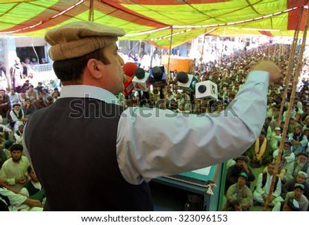 CHAMAN, PAKISTAN - OCT 02: PML (N) provincial member addressing with the Public gathering called by PML-N against poor law and order situation, at Trunch Road on October 02, 2015 in Chaman.