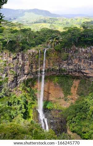 Chamarel waterfall in the jungle, Mauritius - stock photo
