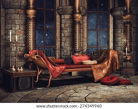 Chamber in a fantasy palace with a sofa, candles and cushions - stock photo