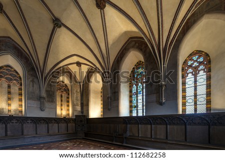 Chamber in greatest Gothic castle in Europe - Malbork. World Heritage List UNESCO. - stock photo