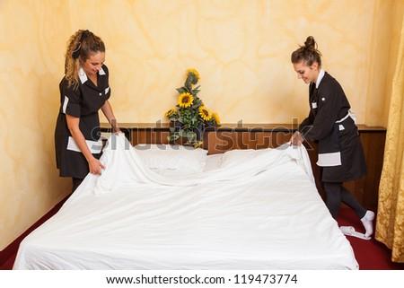 Chamber Maid at Work - stock photo