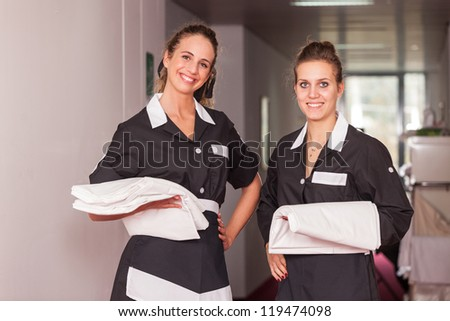 Chamber Maids at Work - stock photo
