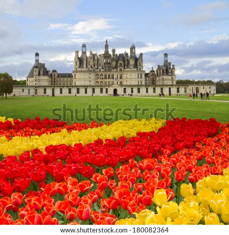 Chambord castle  in the Loire Valley (val de Loire),  France - stock photo