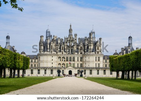 Chambord castle is located in Loir-et-Cher, France. It has a very distinct French Renaissance architecture which blends traditional French medieval - stock photo