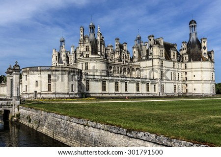 Chambord castle (1519, originally a 'hunting lodge' for King Francois I) is largest of Loire Chateau. It distinct French architecture combines traditional defensive structures with classical Italian.