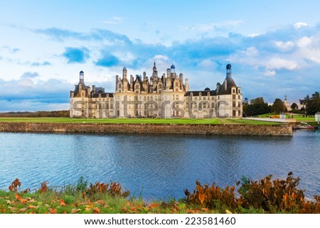 Chambord chateau at autumn day, Pays-de-la-Loire, France - stock photo